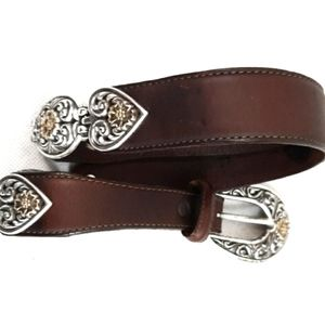 BRIGHTON OUT WEST Floral Scroll Heart Belt 27-31 M